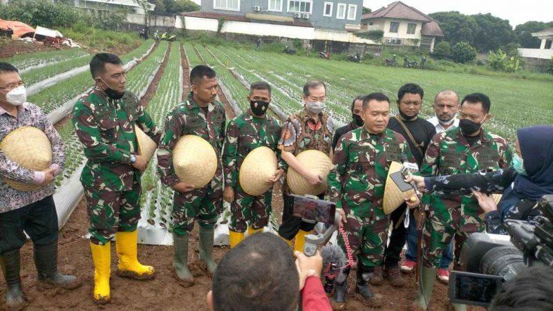 Pangdam jaya Mayjen TNI Dudung Abdurachman bersama jajaran lakukan kunjungan kerja meninjau lahan pertanian ketahanan pangan mandiri di kelapa dua Tangerang. (dok.Pangdam Jaya)
