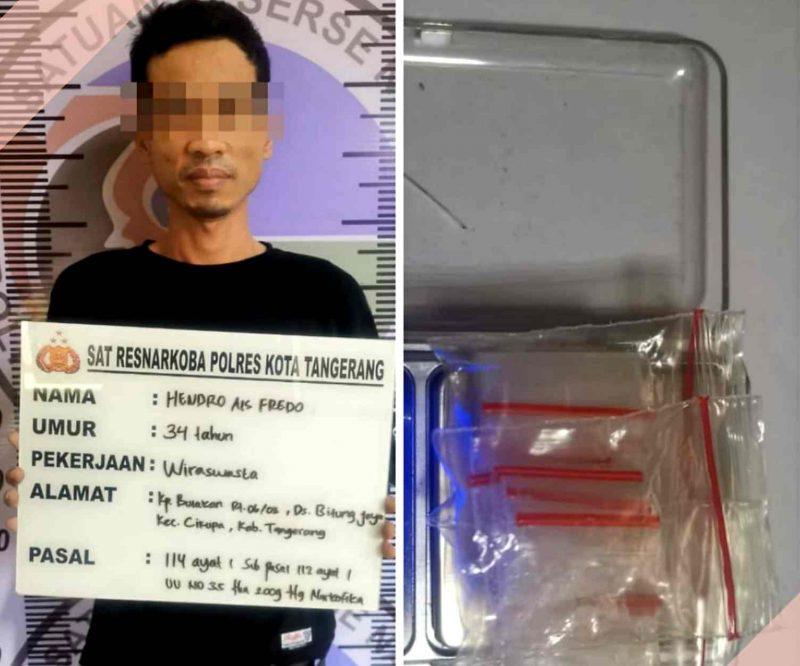 Foto kolase: Pelaku pengedar sabu inisial H alias Fredo (35th) berikut barang bukti diamankan Satresnarkoba Polresta Tangerang.