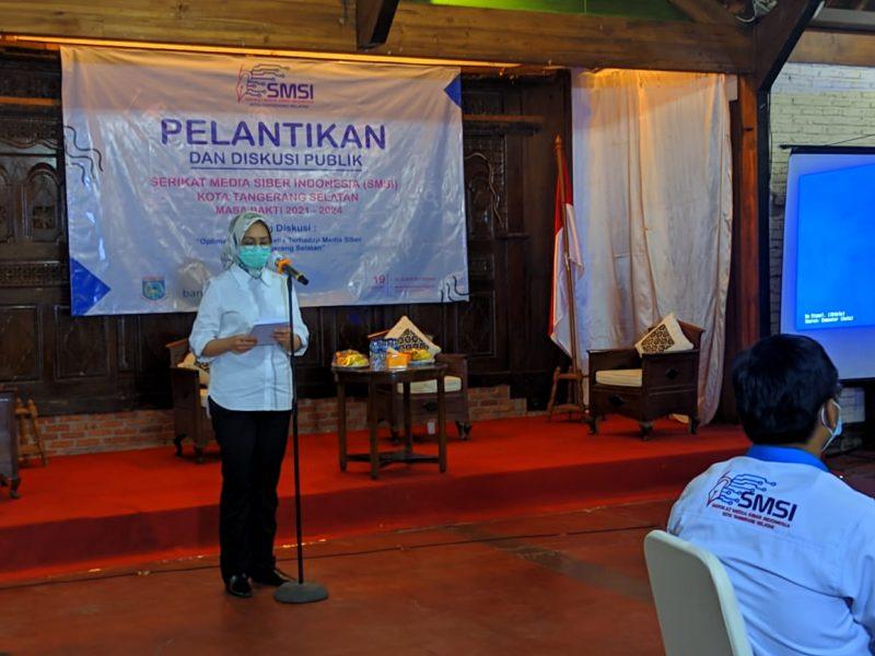 Foto: Pidato Wali Kota Tangerang Selatan, Airin Rachmi Diany di acara pelantikan pengurus SMSI Kota Tangsel, Jumat (19/2/2021).