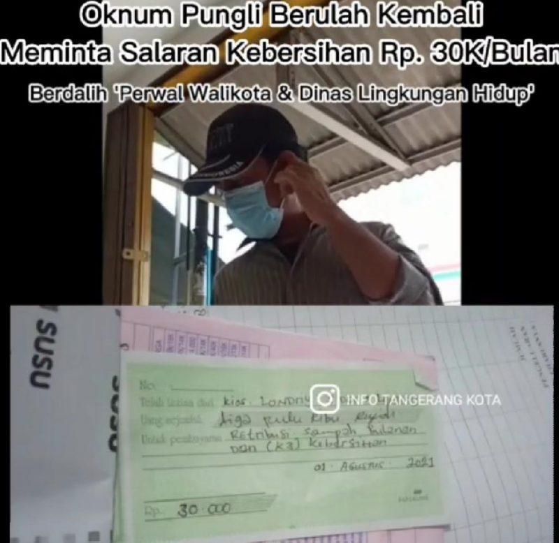 Seorang pria di video yang diduga melakukan pungli dengan meminta uang kebersihan di sejumlah kios di Kota Tangerang. (Foto: video tangkapan layar di Instagram @infotangerangkota)